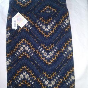 Nwt women's LulaRoe pencil skirt blue yellow Small